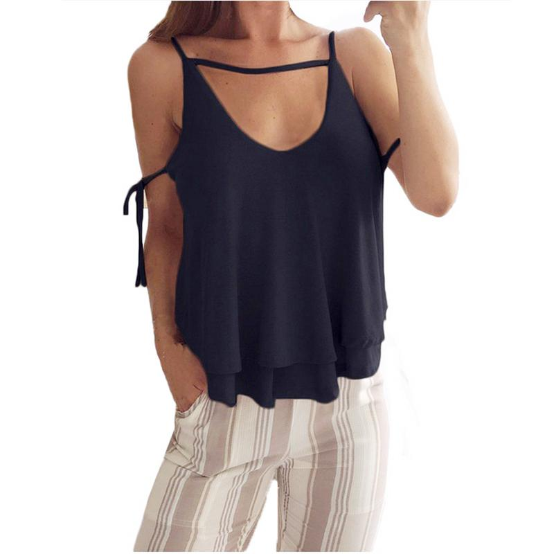 9b26a2eeec99f Women's Summer Sexy Camis V Neck Sleeveless Fashion Solid Tops Casual Loose  Vest Bralette Female Camisole