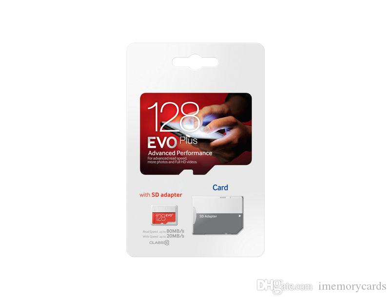 2018 뜨거운 판매 80MB / S 90MB / S 32GB 64GB 128GB 256GB C10 TF 플래시 메모리 카드 무료 어댑터 소매 블래스터 패키지 Epacket DHL 무료 배송