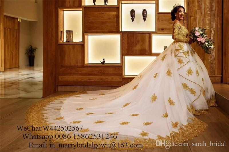 Bellanaija Gold Lace Ball Gown Wedding Dresses 2020 Plus Size Long Sleeves Crystals Chapel Train Black Girls African Muslim Bridal Gowns