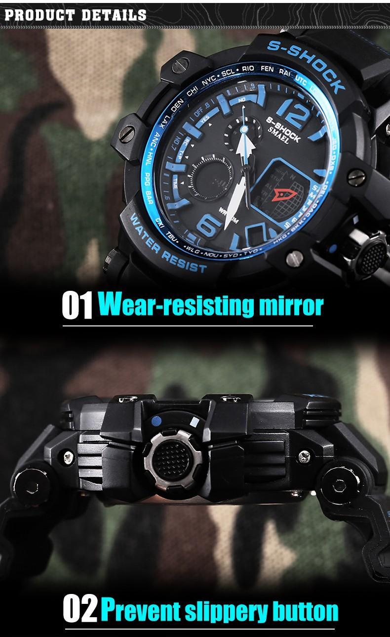 SMAEL S-Shock Hommes Militaire En Plein Air Montres Numériques LED Double Affichage Quartz Montre-Bracelet Étanche Homme Bracelet En Caoutchouc Relogio Masculino