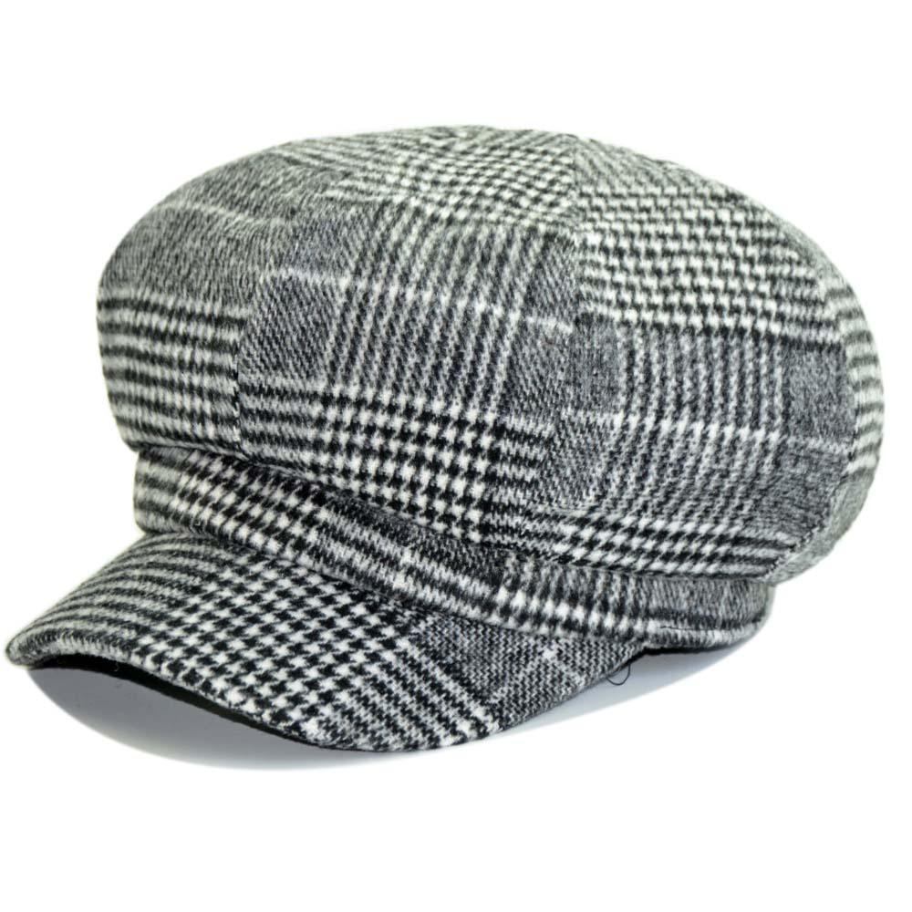 7e0d12a6458 New Women Plaid Newsboy Caps Winter Autumn Octagonal Beret Hat for ...