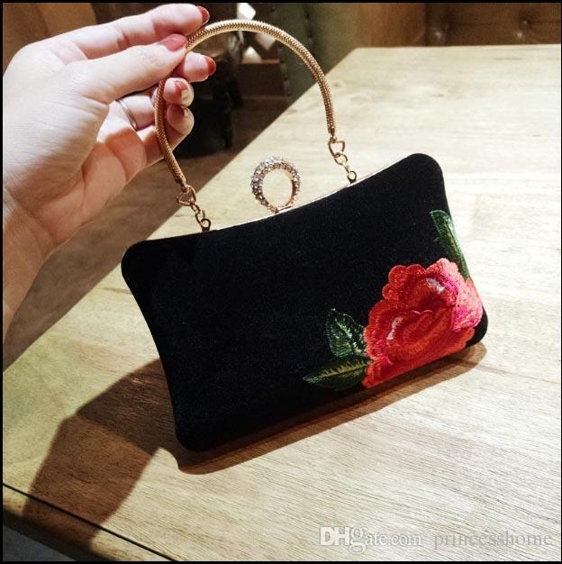 Women Fashion Flowers Shoulder Bag Ladies Small Vintage Tote Bag Purse  Chain Clutch Handbag Messenger Bag For Girls Cheap Designer Handbags Black  Handbags ... 5fbb98508293c