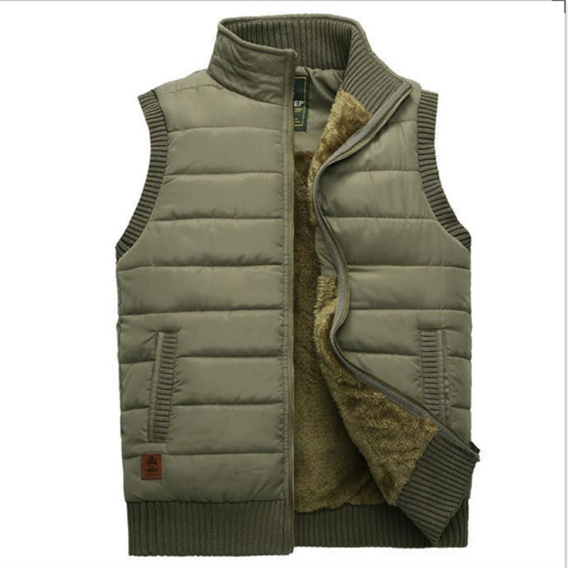 the latest c5328 df00e Giacca invernale da uomo Gilet di lana Cappotto caldo senza maniche Giacche  Casual Uomo Gilet Fleece Army Green Gilet