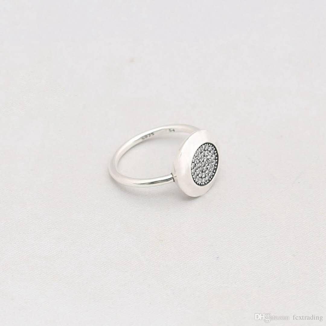 date Compatible fit Pour Bijoux Bague En Argent Authentique 925 sterling argent rond disque anneau avec cz pavée