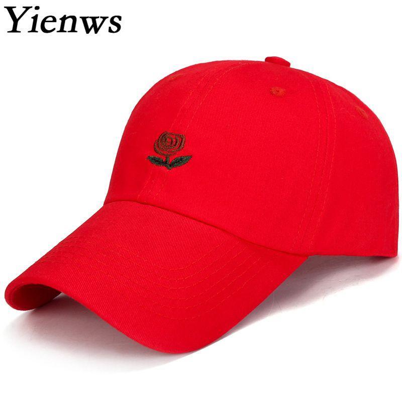Compre Yienws Mujer Gorras De Béisbol Rojas Bordado De Verano Rosa Gorra De  Béisbol Para Mujeres Hombres Huesos Gorras De Camionero Casquette Chapeau  YIC092 ... 43af722528f