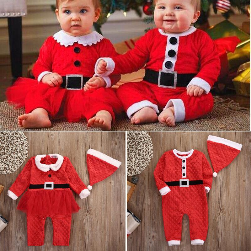 Christmas Party Rompers Newborn Baby Boys Girls Santa Claus Jumpsuit Clothes Casual Warm Outfits Set 2PCS For 0-24M Y18102907