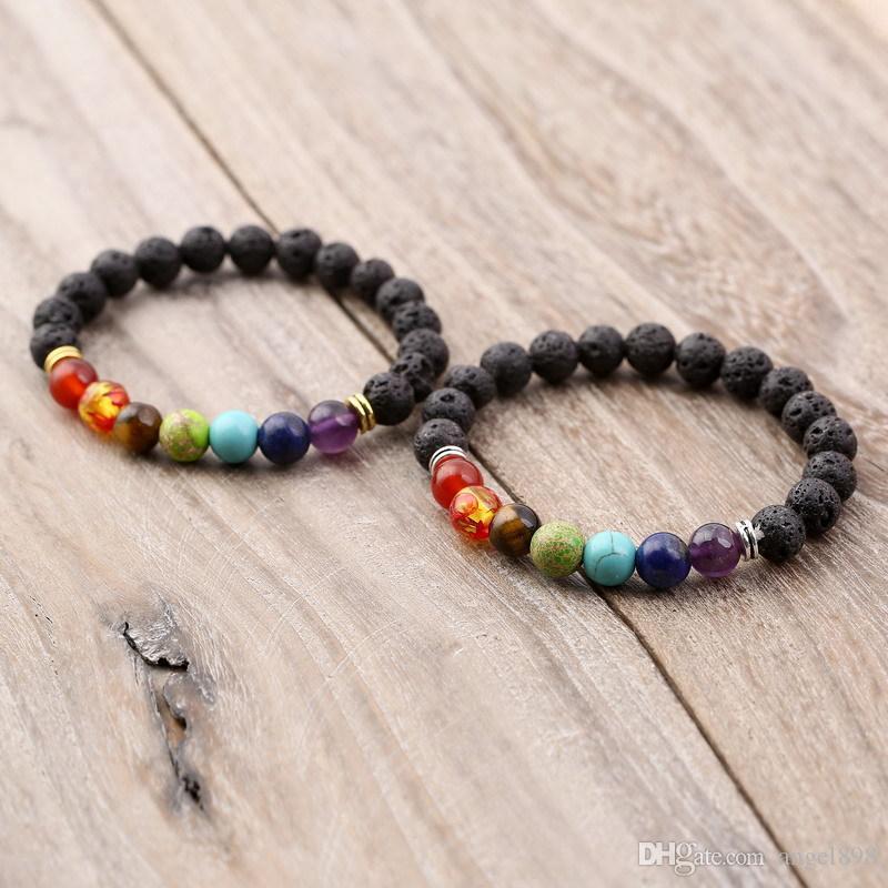 PIEDRA VOLCÁNICA DE LAVA NEGRA 7 Chakra Pulsera, Pulsera de yoga de piedra natural, curación Reiki Oración Balance Buddha Beads Pulsera