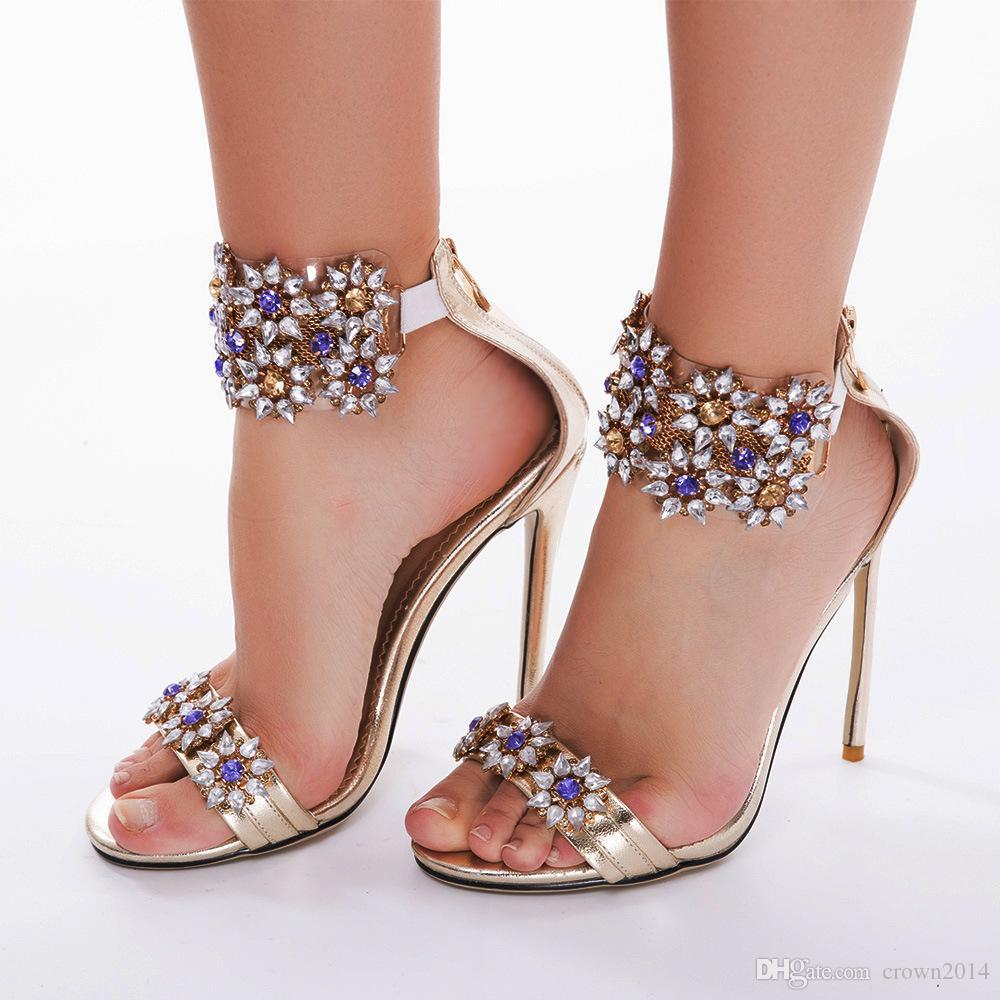2018 Luxury Crystal Designer High Heels Wedding Shoes