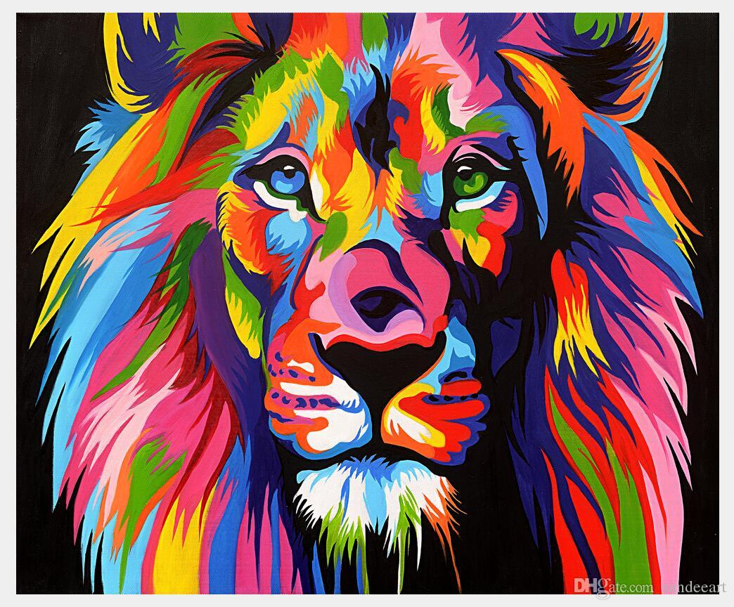 2018 prints art modern animal abstract lion colorful painting canvas