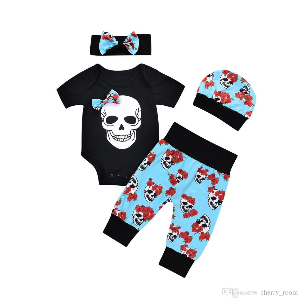 2018 baby boys girls halloween clothes sets toddler outfits skull