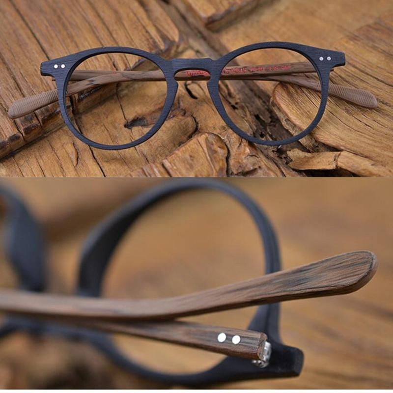 878821d4f30 60 s Vintage Wood Brown Oval Eyeglass Frames Full Rim Hand Made ...