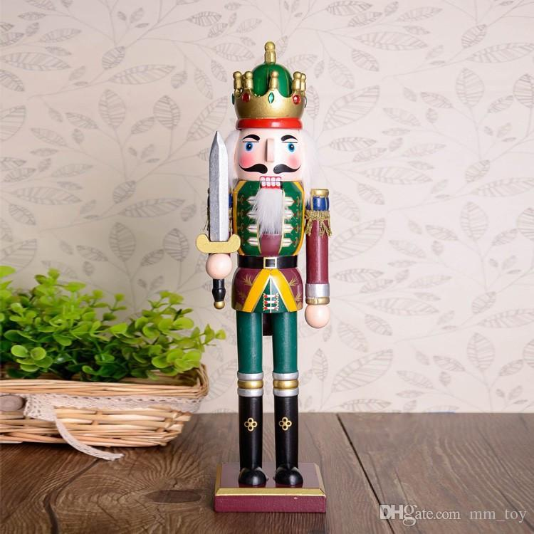 30cm Wood Made Nutcracker Puppet Zakka Creative Desktop Decoration Christmas Ornaments Drawing Walnuts Soldiers, Band Dolls
