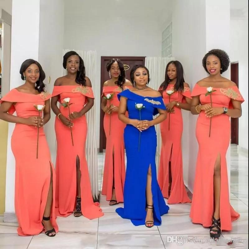 abc7ce2102 Coral Mermaid Bridesmaids Dresses Off the Shoulder Cap Sleeves Royal Blue  African Lace Maid Of Honor Gowns High Split Side Satin Prom Dress