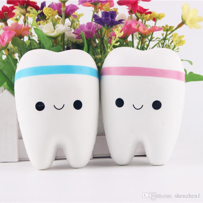 2017 Free Shipping Cute tooth Squishy Kawaii teeth Bag/Key/Cell Phone Straps Soft toy Simulation toys christmas gift OTH763