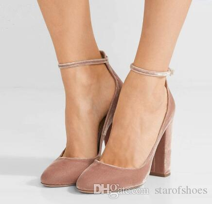 2018 Zapatos Mujer Nude Pink Schwarz Flock Damen Pumps Sexy Schnallenriemen High Heels Schuhe Knöchel-Wickel Block Heels Damenschuhe