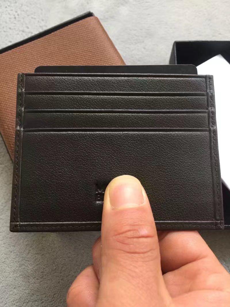 Männer Frauen Casual Kreditkarte ID Halter Echtes Leder classic Schwarz / Braun Marke MB Mini Geldbörse Dünne Geldbörse Tasche Schlank Brieftaschen