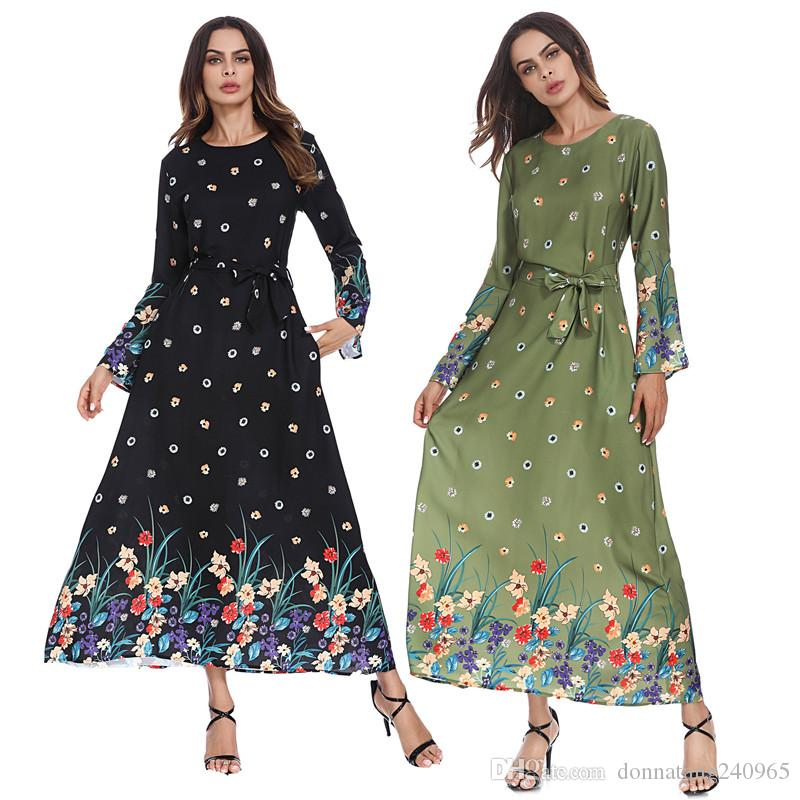 a7be6e35b Compre Popular Islâmico Mulheres Muçulmanas Dress Abaya Elegante Islâmico  Clothing Muçulmano Dress Tecido Mulheres Bohemian Maxi Longo Bonito Vestido  De ...