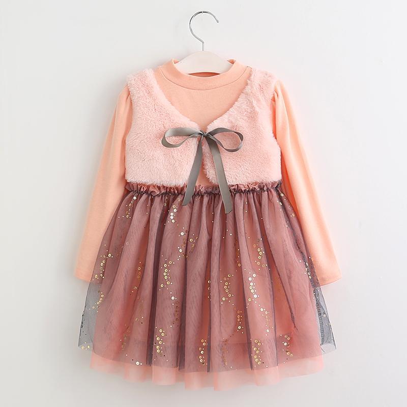 16a583b83 Vestido de niña de malla 2018 Nuevos vestidos de primavera Ropa infantil  Vestido de princesa PinkWool Diseño de lazo 2-8 años Vestido de niña ...