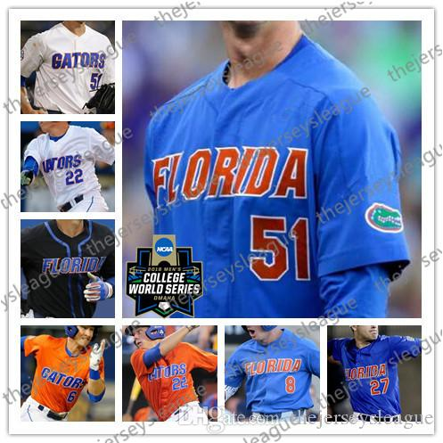 d00d9036743 2019 Florida Gators Custom Any Number Any Name White Orange Black Blue Good  Quality Stitched  51 Brady Singer NCAA College Baseball Jerseys From ...