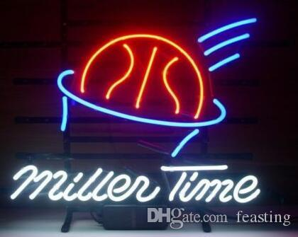 Custom New Miller Time Birra Real Glass Neon Sign light Birra Bar Sign Invia bisogno di foto 19x15