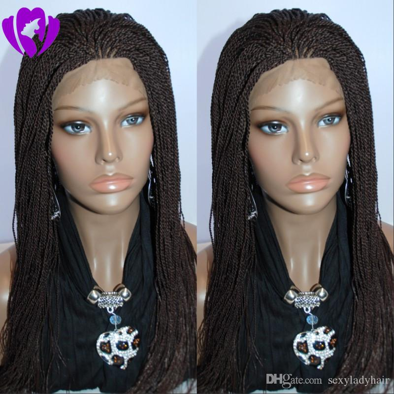Hotselling african americans synthetic braided lace front wigs 200 density full kinky twist lace wigs full hand short braided wig tip curly