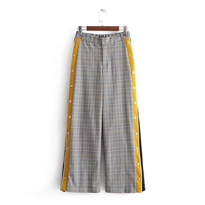Acquista Pantaloni A Vita Bassa Vintage Pied De Poule Con Bottoni Laterali  Larghi Pantaloni A Vita Bassa Elastico Casual Pantaloni Larghi Pantalon  Mujer A ... 766ad1cd80ba