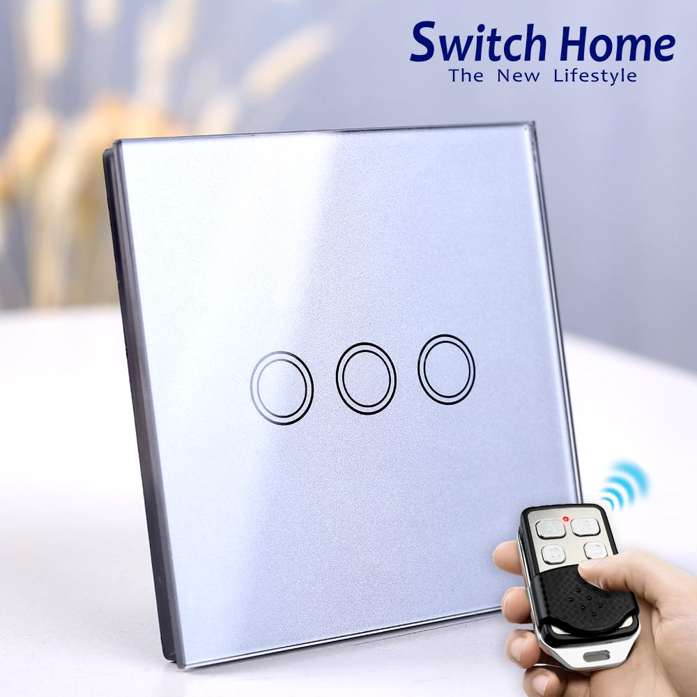 2018 3 Gang Touch Wall Light Switch Wireless Remote Control Uk