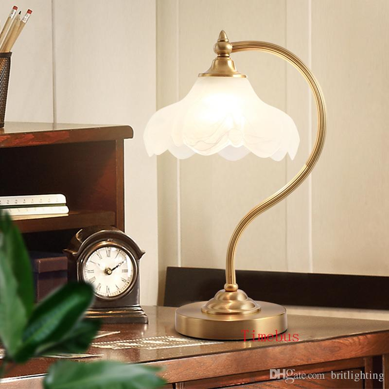 American hotel Club desk lamp Bedroom bedside Glass light Living room table  Lamp sofa reading lights European Study table lights table lamp