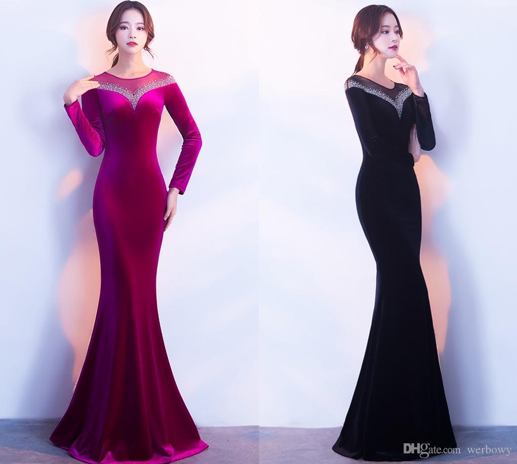 New Noble Winter Long Sexy Elegant Blue Velvet Evening Dresses