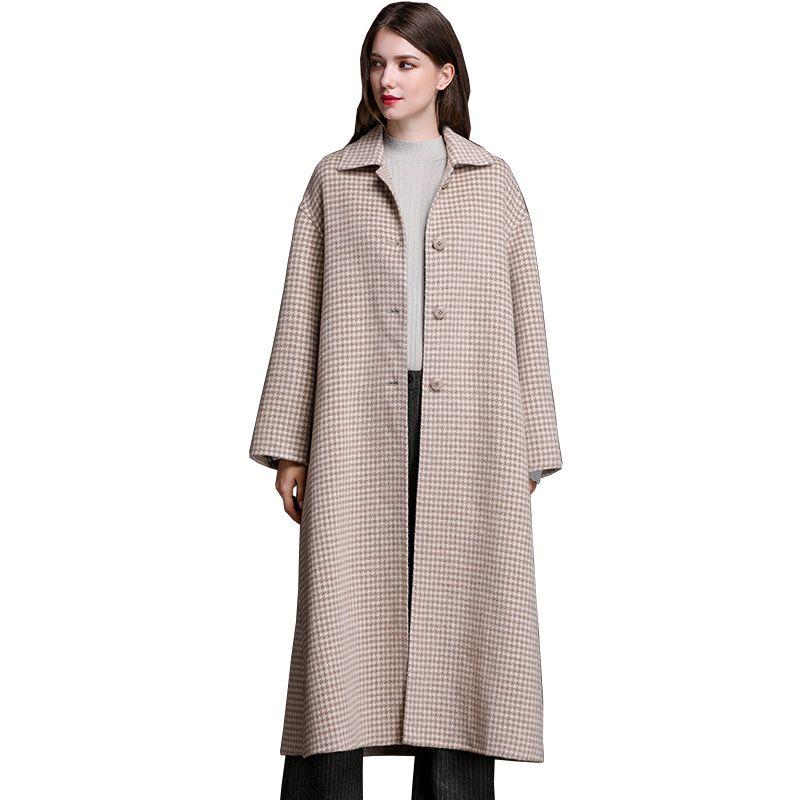 847f6f403 Automne Hiver Manteau De Laine Femmes Vêtir 2018 Dames À Carreaux Rouge  Laine Long Manteaux Coréen Vintage De Laine Veste Casaco Feminino ZL747