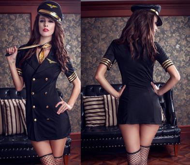 c6a2edf18f9 5 Pcs Fantasia Sexy Uniform Hot Pretty Pilot Costume Black Airline Hostess  Halloween Costume Stewardess Suit Fancy Role Play