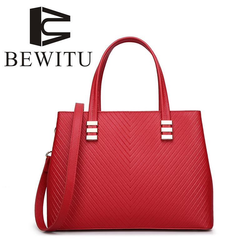371a4e9f4b BEWITU V Pattern Women Leather Handbags 2018 Fashion Casual Simple Luxury  Women S Shoulder Bag Trend Handbags To Work Bag Shoulder Bags Laptop Bags  For ...