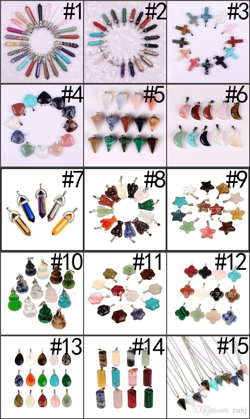 15 Styles Natural Stone Crystal Alloy Pendants Energy Balance Necklace Jasper Chokers Jewelry Quartz Beads Strands for Women Men