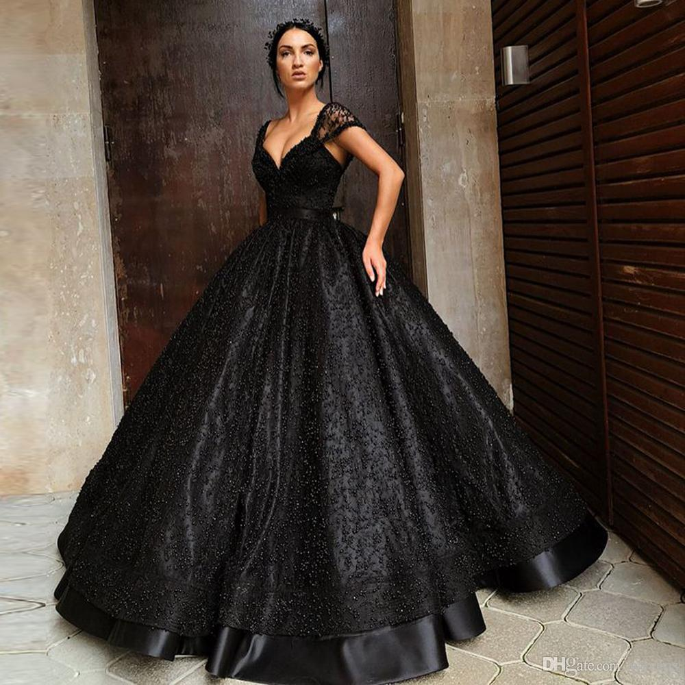 252151fc83c Glamorous Black Ball Gown Gothic Prom Dresses V Neck Off The Shoulder Lace  Pearls Party Gowns Floor Length Abendkleider 2018 Orange Prom Dress Peaches  Prom ...