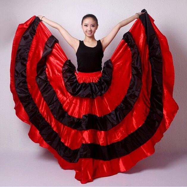 a7b0013831eb6 2019 2016 Girls Long Latin Skirts For Ballroom Dancing Adults Red Balck  Flamenco Dress Women Salsa/Tango/Spanish/Belly Dance Costumes From Caeley,  ...