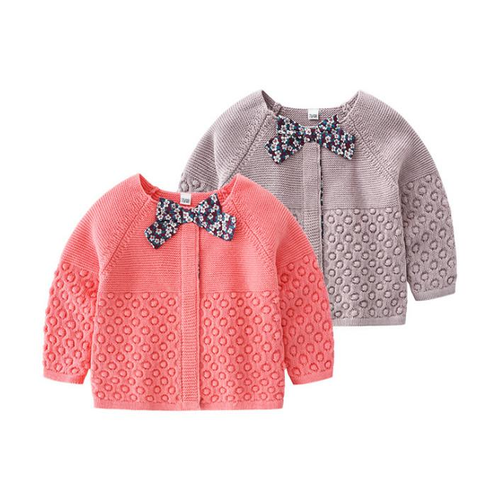 e94b590c248 Baby Kids Cardigan Girls Floral Printed Bows Tie Long Sleeve Princess  Outwear Child Polka Dots Pattern Knitted Sweater Cardigan 0 4T F2047 Cute  Cardigans ...