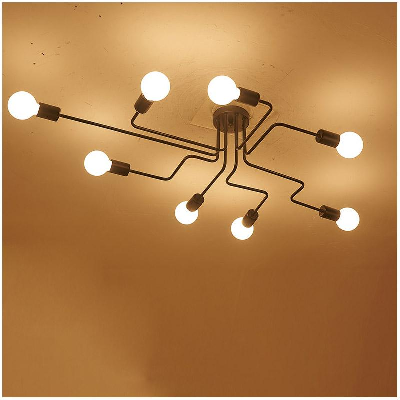 Led ceiling lights retro with 8 bulbs industrial loft nordic iron led ceiling lights retro with 8 bulbs industrial loft nordic iron lustre lamps for home decor restaurant dinning cafe bar room light lamp lamp ceiling lamp aloadofball Gallery