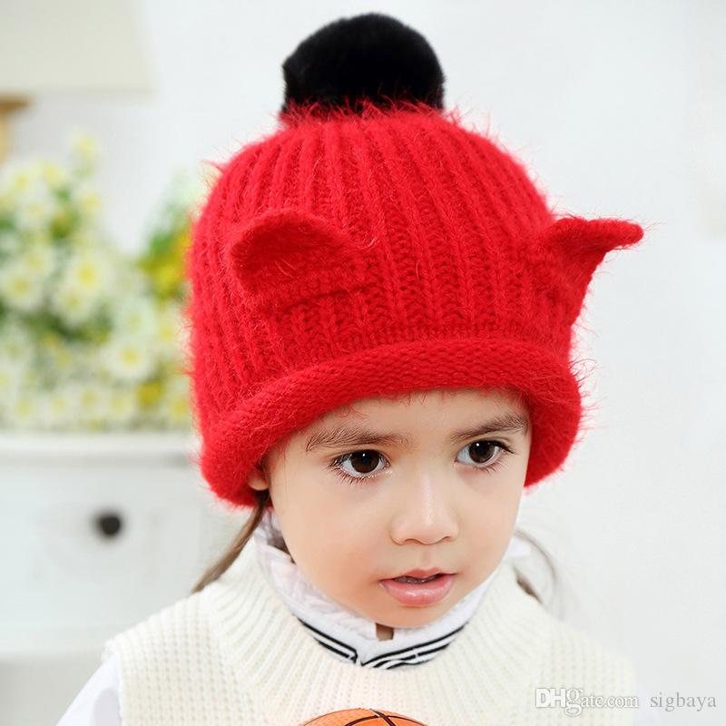 aeb44273 Kids Winter Hats Baby Children Animal Cat Ear Kids Knitted Hat Winter Warm  Cute Hair Ball Wool Cap Newborn Photography Props Starter Cap Big Hats From  ...