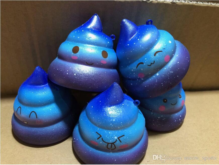Venta al por mayor Jumbo caca azul Slow Rising Poo juguetes correas de teléfono suave perfumado divertido regalo del juguete del juguete del juguete del apretón 7 * 6.5 CM