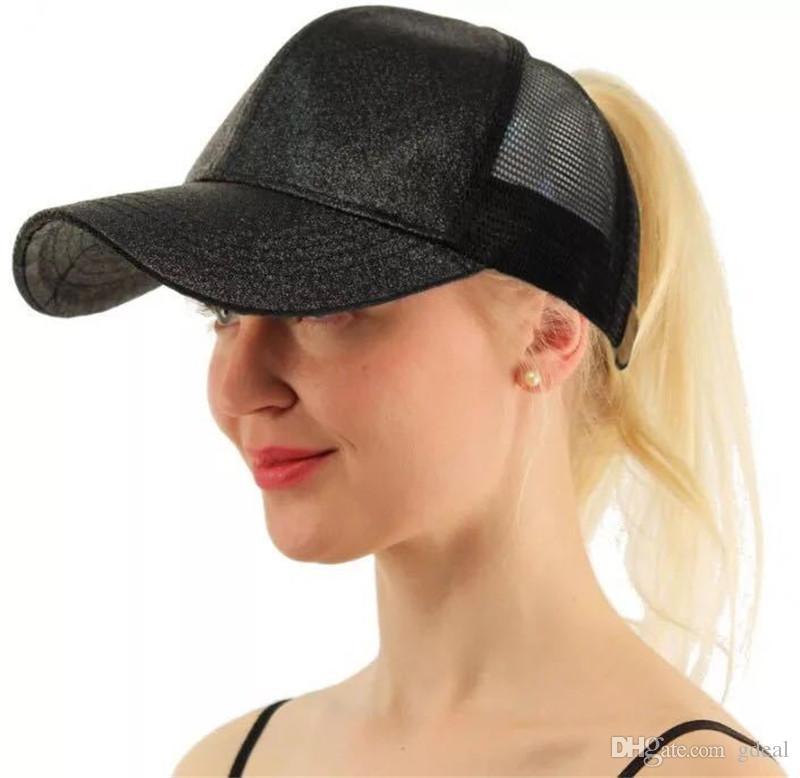 9179706e02b Women Hat Glitter Ponytail Baseball Hat Girl Softball Hats Back Hole Pony  Tail Glitter Mesh Baseball Cap Hat 50 Cosplay Wig Cap Lace Wig Cap From  Gdeal