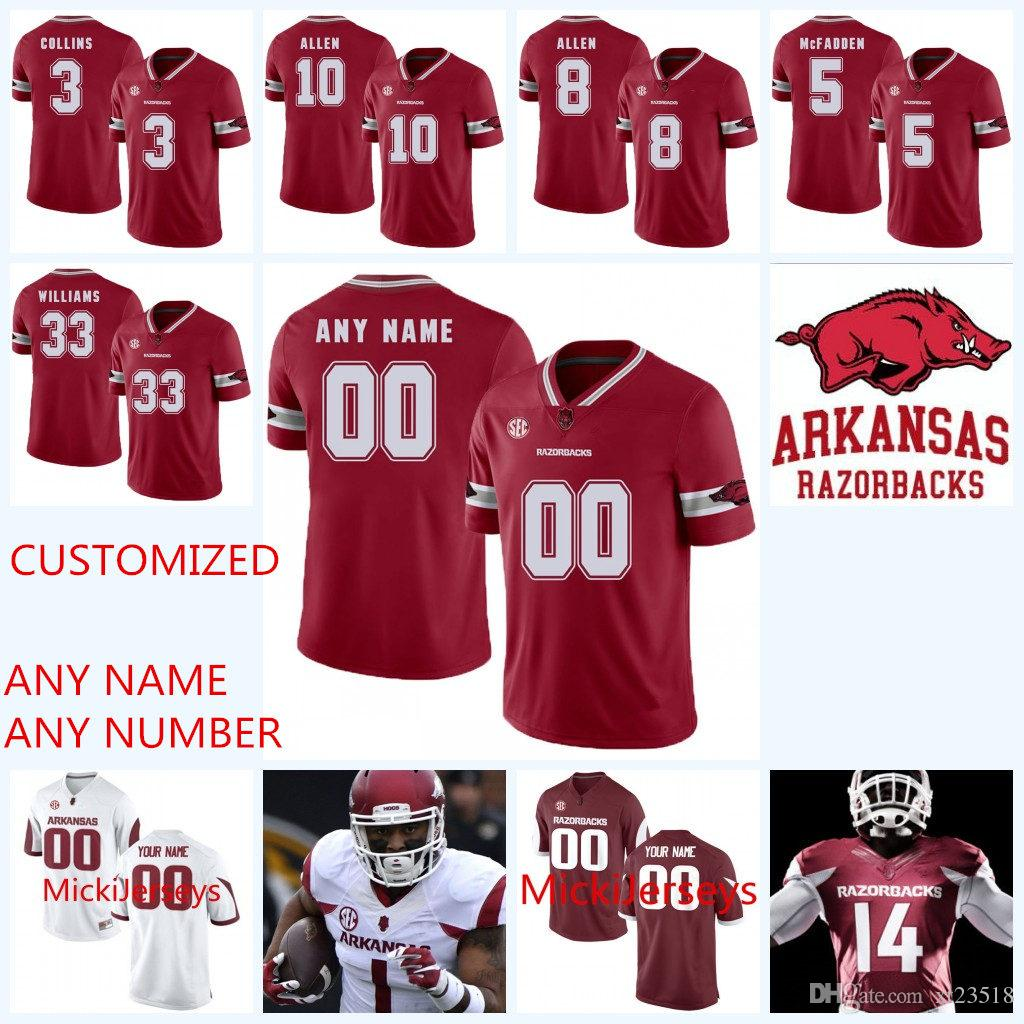 online retailer 53896 304b9 Custom NCAA Arkansas Razorbacks College Football Jerseys Jared Cornelius  Josh Liddell David Williams Frank Ragnow Arkansas Razorbacks Jersey