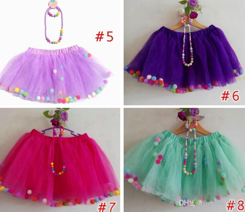 e25860b22c Girl tutu skirts 3pcs Set Baby rainbow pom poms pettiskirt + necklace +  bracelet 3PCS Girl birthday party Costum