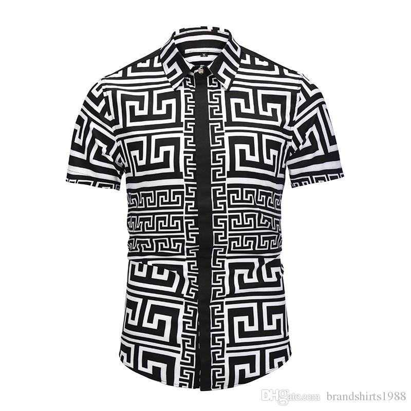 35c57e38fea6 NEW Italian Luxury Brand Men Dress Shirt D6005 Slim Fit Male Short ...