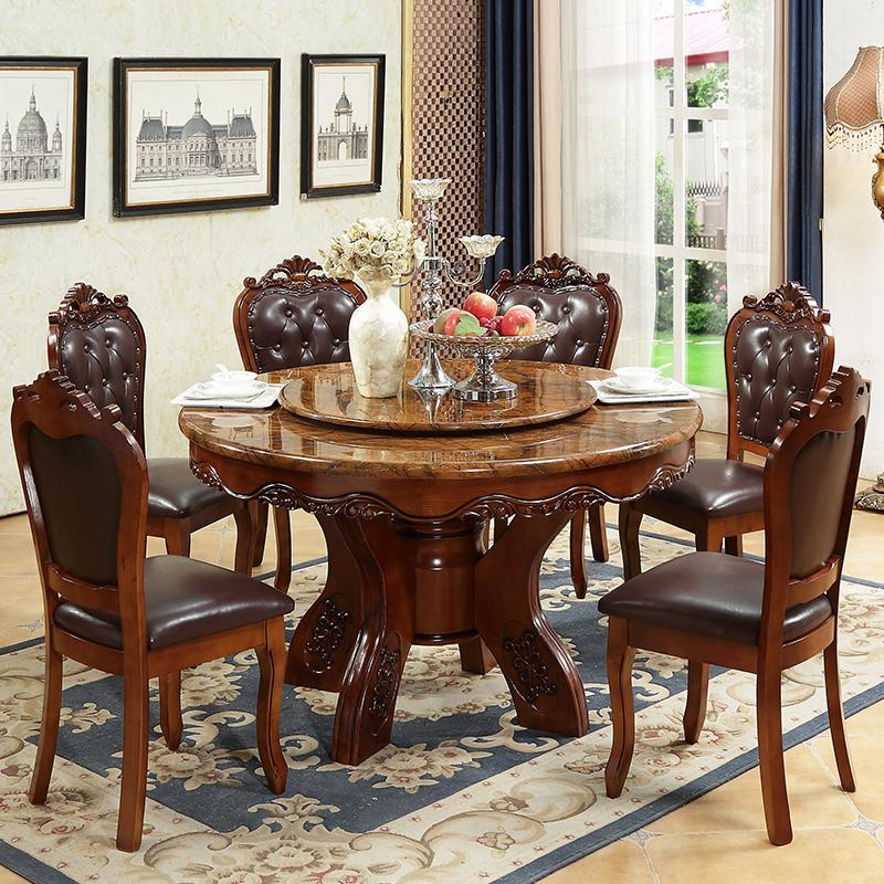 2018 Modern Minimalist Round Marble Dining Table 1.2 M Small Apartment  Solid Wood Round Table With Turntable Dining Table And Chair Combination  From ...