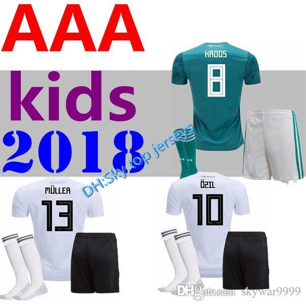 42b2990beed 2019 2018 Kids Soccer Jersey Away Green Germany Muller HUMMELS 18 19  GORETZKA OZIL KROOS Sane DRAHLER WERNER Boys Child Football Uniform Shirts  From ...