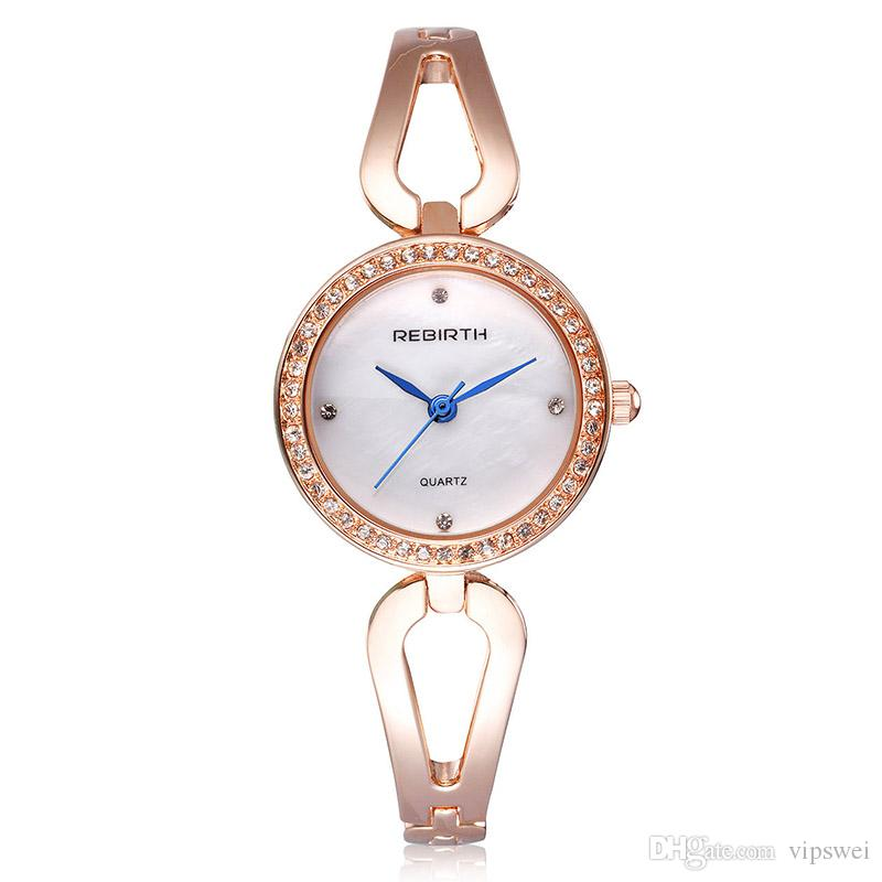 Woman fashion dress watches Hollow Bracelet strap design blue hour hand Retro Style Quartz watch Good gift shell dial wristwatch Rhinestone
