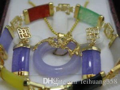 Al por mayor Barato bastante multicolor jade colgante pendiente pulsera conjunto de joyas