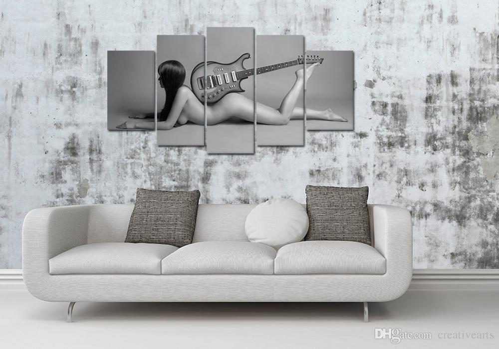 HD Impreso 5 Unidades Sin Lona Arte de La Pared Sexy Nude Girl Impresiones de la Lona Mujer Desnuda Con Guitarra Eléctrica Decoración para el Hogar Moderno Sin marco