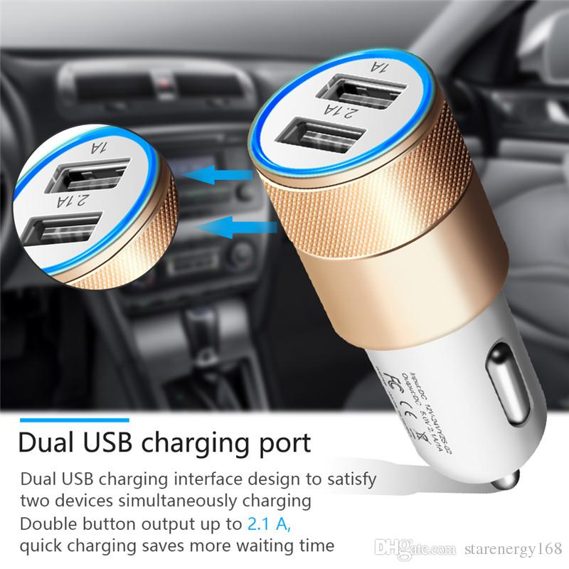 168 Metal Dual USB Port Car Charger Universal 2.1 A Led Charging Adapter For smart phone and tablet pc